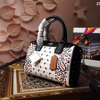 COACH WOMEN'S BUTTERFLY FLOWERS LEATHER HANDBAG SHOULDER BAG