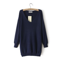 1616 2016 New Hot Casual Fashion Women's Sweater Large size Sexy Off Shoulder V-Neck Slim Knit Knitwear Sweater Dress tricotado