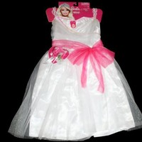 Barbie Exclusive Wedding Dress Bouquet Girl Dress Up 4-6X J-Hook