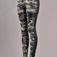 FAUX LEATHER SIDE MILITARY PRINTED LEGGINGS - PREORDER — Tanny's Couture LLC