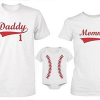 Daddy Mommy and Baby Matching Baseball T-Shirt and Onesuit - Family Shirts