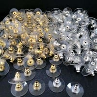 Comfort Replacement Earring Backs With Plastic Disk Stopper/Bullet Style Gold, Silver or Mixed For Woman