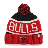 Chicago Bulls - Logo Calgary Red and Black Pom Pom Beanie