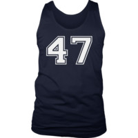 Men's Vintage Sports Jersey Number 47 Tank Top for Fan or Player #47