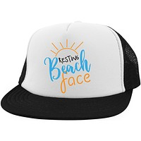 Resting Beach Face Hat Funny Beach Trucker Hat