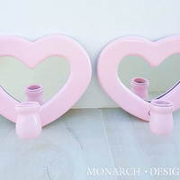 Pink Heart Mirrored Candle Sconces - Shabby Chic Vintage Nursery Decor