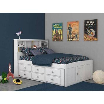 Elizabeth White Full Size Captains Bed with Storage Drawers