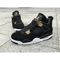 "Air Jordan 4 ""Black Suede"" Basketball Shoes 36-47"