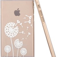iPhone 6S Case,iPhone 6 Case,Hundromi iphone 6 6S Plastic Transparent Clear Case Cover Henna White Floral Paisley Flower Mandala for iPhone 6/6S(4.7-inch)(Dandelion)