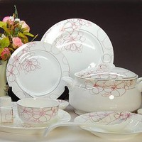 Bine China 48pcs Flower Love Dinnerware Set Ceram Tableware Set Ceramic Plates Bowls Dishes Plates Soupe Bowls Wedding Gift