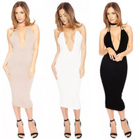 2017 Trending Fashion Summer Women Hollow Bandage Hollow Bandage Slim Package Hip One Piece Dress _ 11981