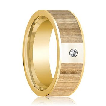 Men's 14k Yellow Gold Wedding Band with Ash Wood Inlay and Diamond - 8MM