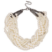 YAN & LEI Hot Sale White Round Pearl Beaded Twist Torsade Multiple Layers Choker Collar Necklace