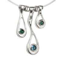 Sterling silver Melting Necklace with Blue Topaz and Tourmaline