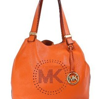 Michael Kors Leather Perforated Large Grab Shoulder Bag Tangerine