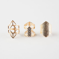Full Tilt 3 Piece Geo Ring Set Gold  In Sizes