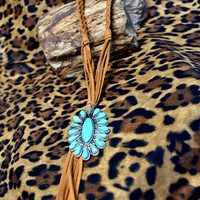 Braided Suede with Turquoise Pendent Necklace