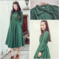 Cute green floral dresses vintage ladies dresses Bohemian style 2016 autumn winter new fashion long sleeve dress free shipping