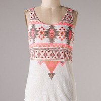 Daring Tank Top - White and Neon Coral - Hazel & Olive