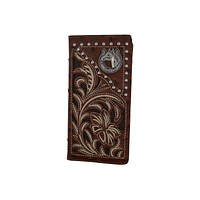 Mens Western Floral Horse Logo Bifold Credit Card CheckBook Wallet Texas Style W052-15-OSTRICH-BR (C)