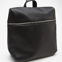 Zip-Front Faux Leather Backpack