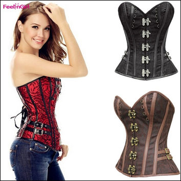 Women's Fashion Sexy Corset Top Steampunk Gothic Costuming Steel Boned Waist Training Corsets Bustier Red Black Brown Corselet Overbust Espartilho = 1697111940