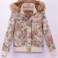 Vintage Print with Detachable Faux Hood Padded Jacket