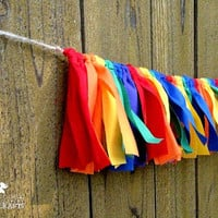 Rainbow rag garland, birthday photo prop, party decoration, mantle, first birthday, gay pride, red orange yellow green blue purple rustic