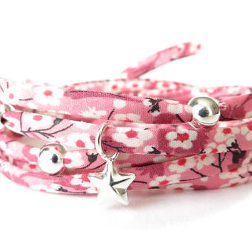 Wrap bracelet with Liberty of London fabric in French rose with 925 Sterling silver beads and star charm
