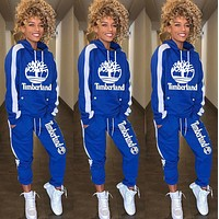 Timerland Women Leisure Round Collar Logo Print Pullover Sweater Pants Trousers Set Two-Piece Blue