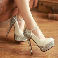 Shining diamond waterproof platform heels