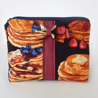 Pancake Makeup Bag / Cosmetics Pouch / Pancakes / Makeup Clutch / Zipper Make Up Bag / Breakfast / Accessories / Bow Clutch