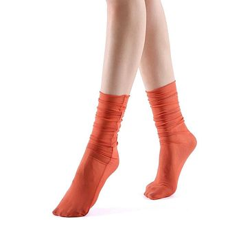 Neverminder Slouch Sheer Crew Sock | Orange