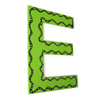 Decorative Letter E, custom alphabet letters in lime green with black and white funky polka dot edge, made to order