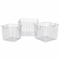 17736 Metal Basket Set of 3 - Silver - Benzara