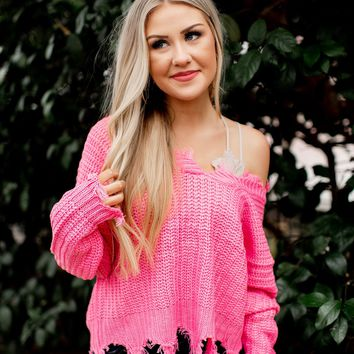 Tattered Love Sweater (Pink)