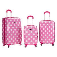 Rockland Luggage Laguna Beach 3 pc ABS Spinner Luggage Set- Pink Dot