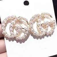 GUCCI new personality all-match shiny pearl earrings fashion letter trend double G earrings