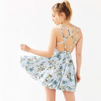 Floral Print Criss Cross Back Flounce Blue Mini Dress