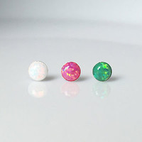 White Pink Green Simulated Opal Round Silver Stud Earrings 925 Sterling 3/4/5mm