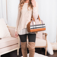 Candlelight Calling Textured Sparkle Sweater (Beige)
