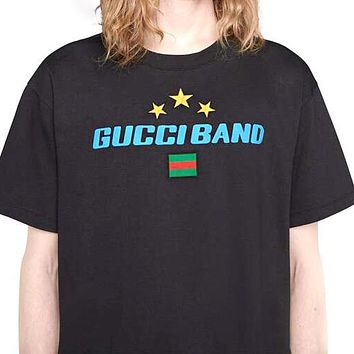 Gucci Band Fashionable Men Women Casual Star Print Round Collar T-Shirt Top