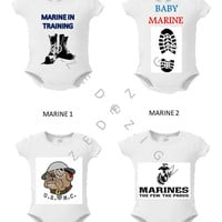 """Military, Baby, Onsie, Toddler Tee, Free Shipping,  """"ARMED FORCES """", White,Graphic Design, Monogram, Personalized, Custom , Baby Shower"""