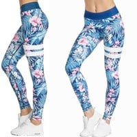 Blue and Pink Hibiscus and Tropical Fern Long Yoga Pants / Leggings