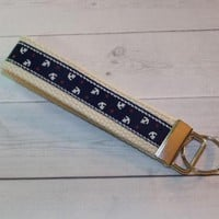 Anchors Key FOB / KeyChain / Wristlet  - anchors keychain Anchors navy  on natural webbing friends teacher bridemaids gifts under 10