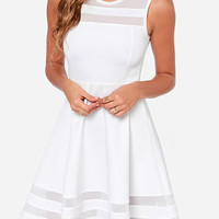 White Sleeveless Mesh A-Line Mini Skater Dress