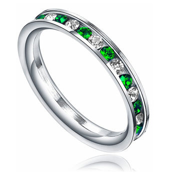 Stainless Steel 3mm Eternity Ring W. Green and Clear Cubic Zirconia