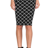 Nookie Bowie Check Pencil Skirt in Black & White