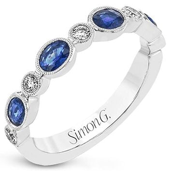 Simon G. Sapphire and Diamond Stackable Ring