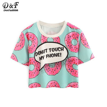 Dotfashion Women Contrast Crew Neck Donut Print Crop Tops Summer Style Cute 2016 New Casual Ladies Tees Short Sleeve T-shirt